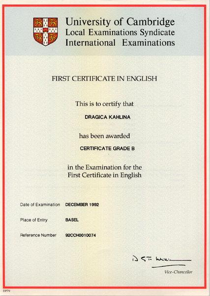 FCE First Certificate In English